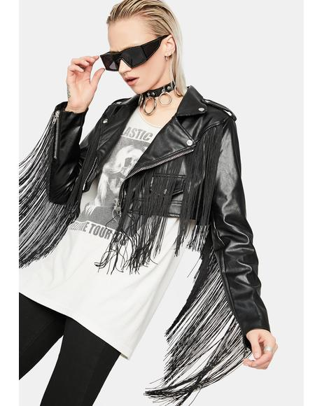 West Wind Fringe Moto Shrug Jacket