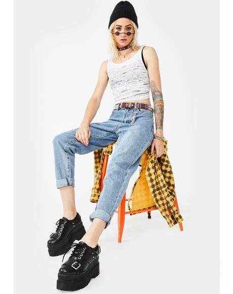 Mid Wash Baggy Denim Jeans