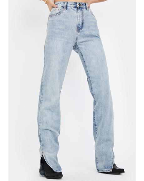 Split Hem High Waisted Jeans