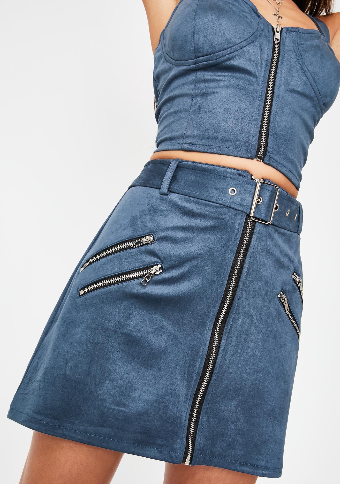 Honey Punch Midnight Blue Zip Mini Skirt