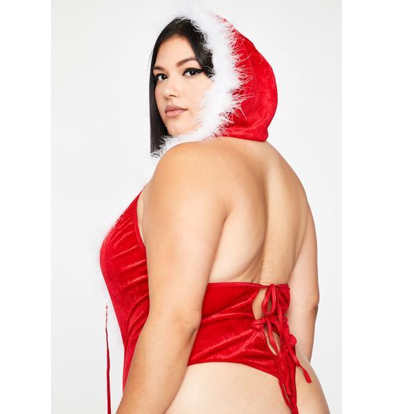 Mz. Ho Ho Hottie Velvet Bodysuit