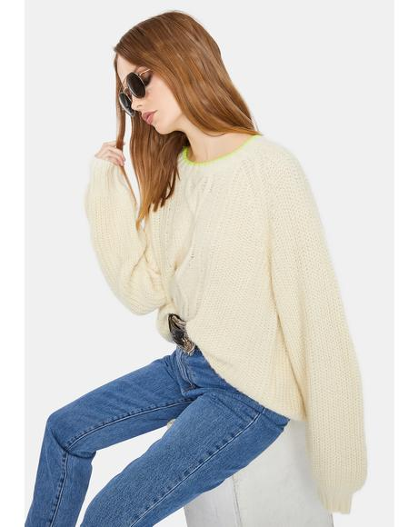 Almond Milk Ava Cable Knit Sweater