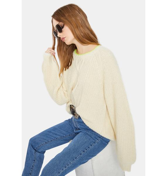 Levis Almond Milk Ava Cable Knit Sweater