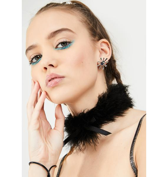Material Girl Feather Bow Choker