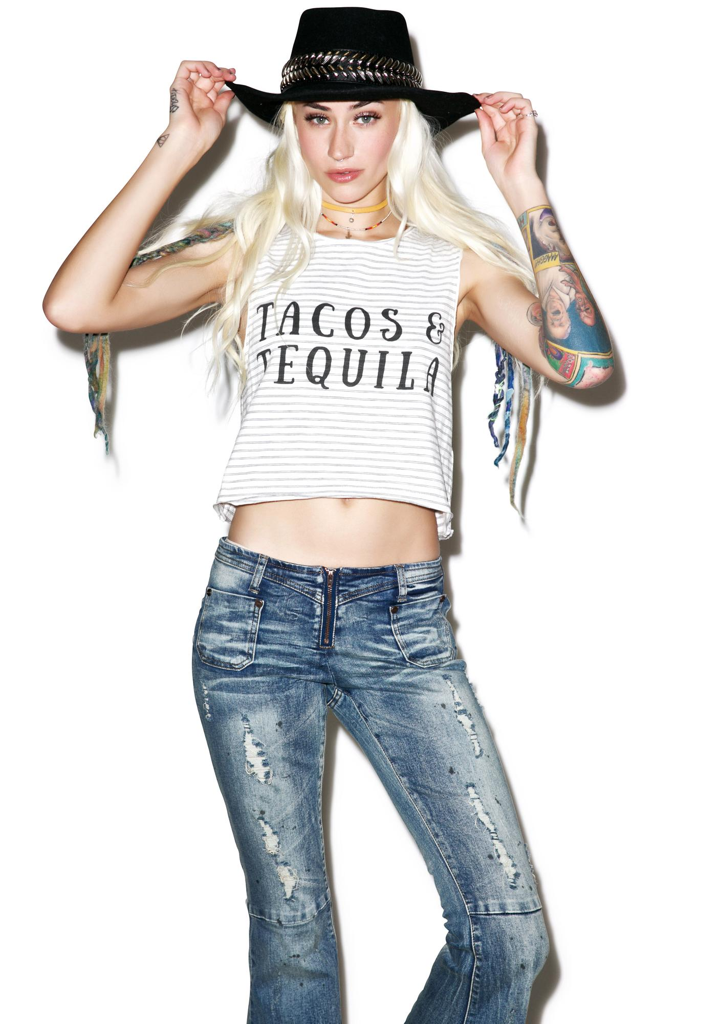 Mink Pink Tacos And Tequila Crop Muscle Tank
