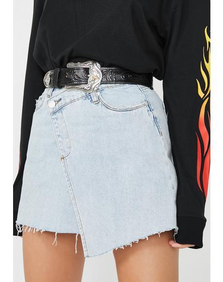 Folded Denim Mini Skirt