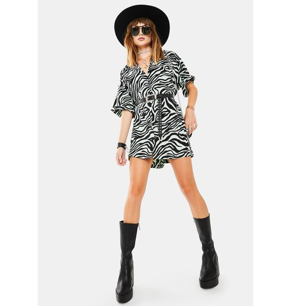 Motel Wavy Zebra Fresia Shirt Dress
