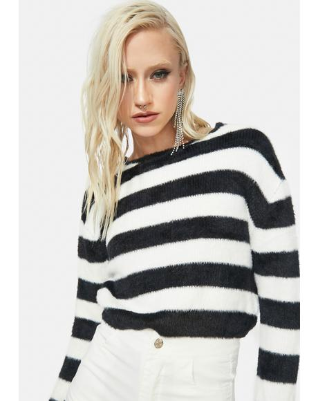Night Darkest Dream Striped Fuzzy Sweater