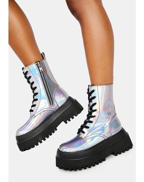 Follow The Signs Holographic Combat Boots