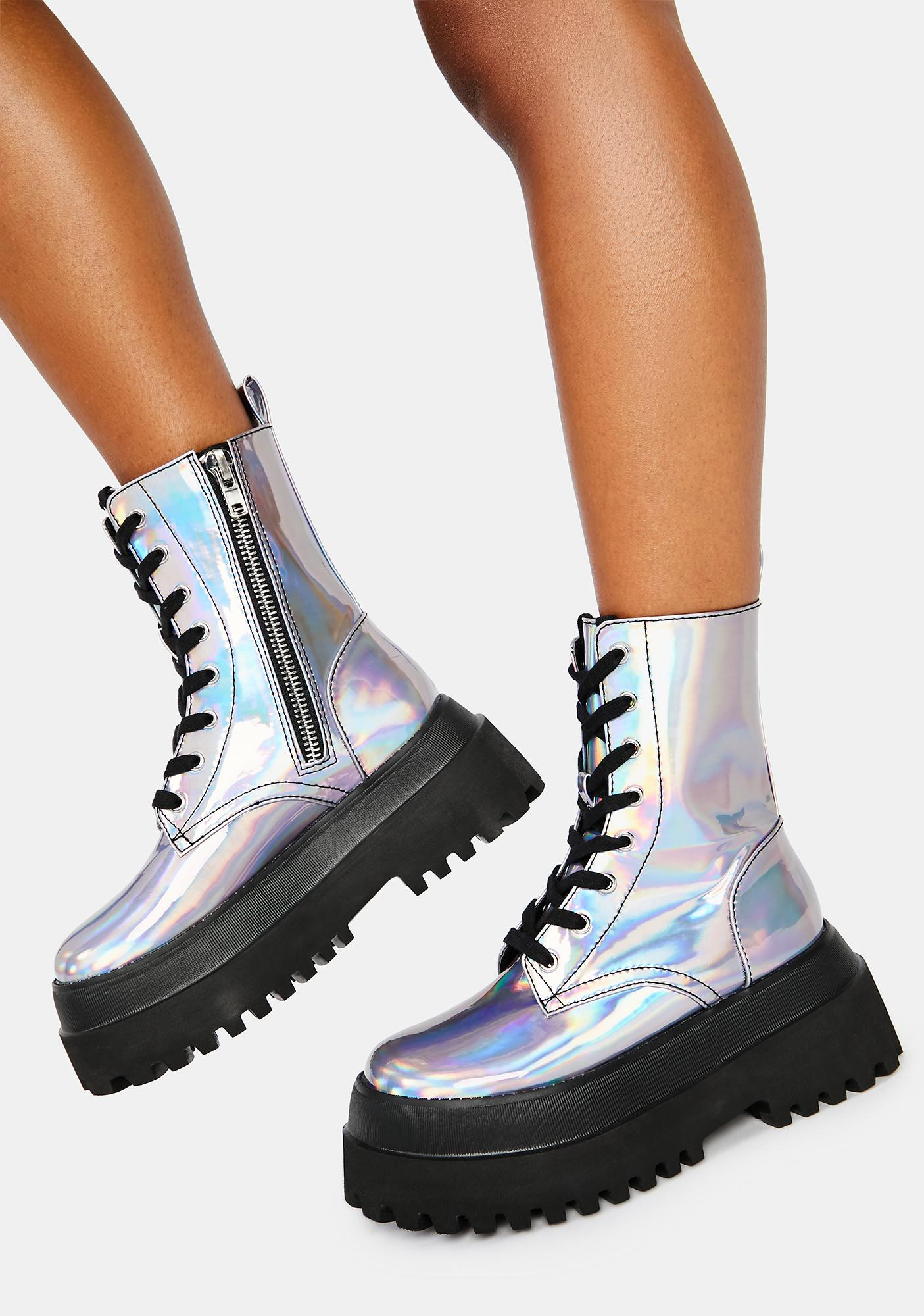 HOROSCOPEZ Follow The Signs Holographic Combat Boots