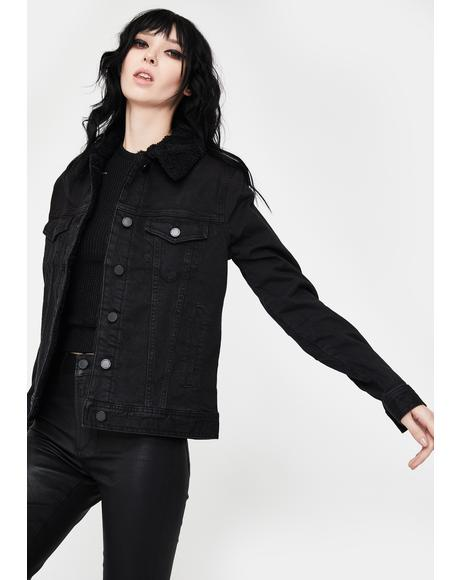 Black Liz Sherpa Denim Jacket