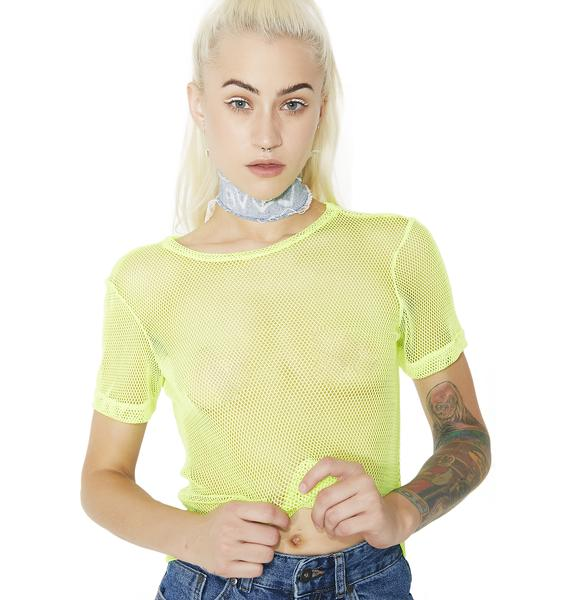 Neon In My Element Fishnet Top