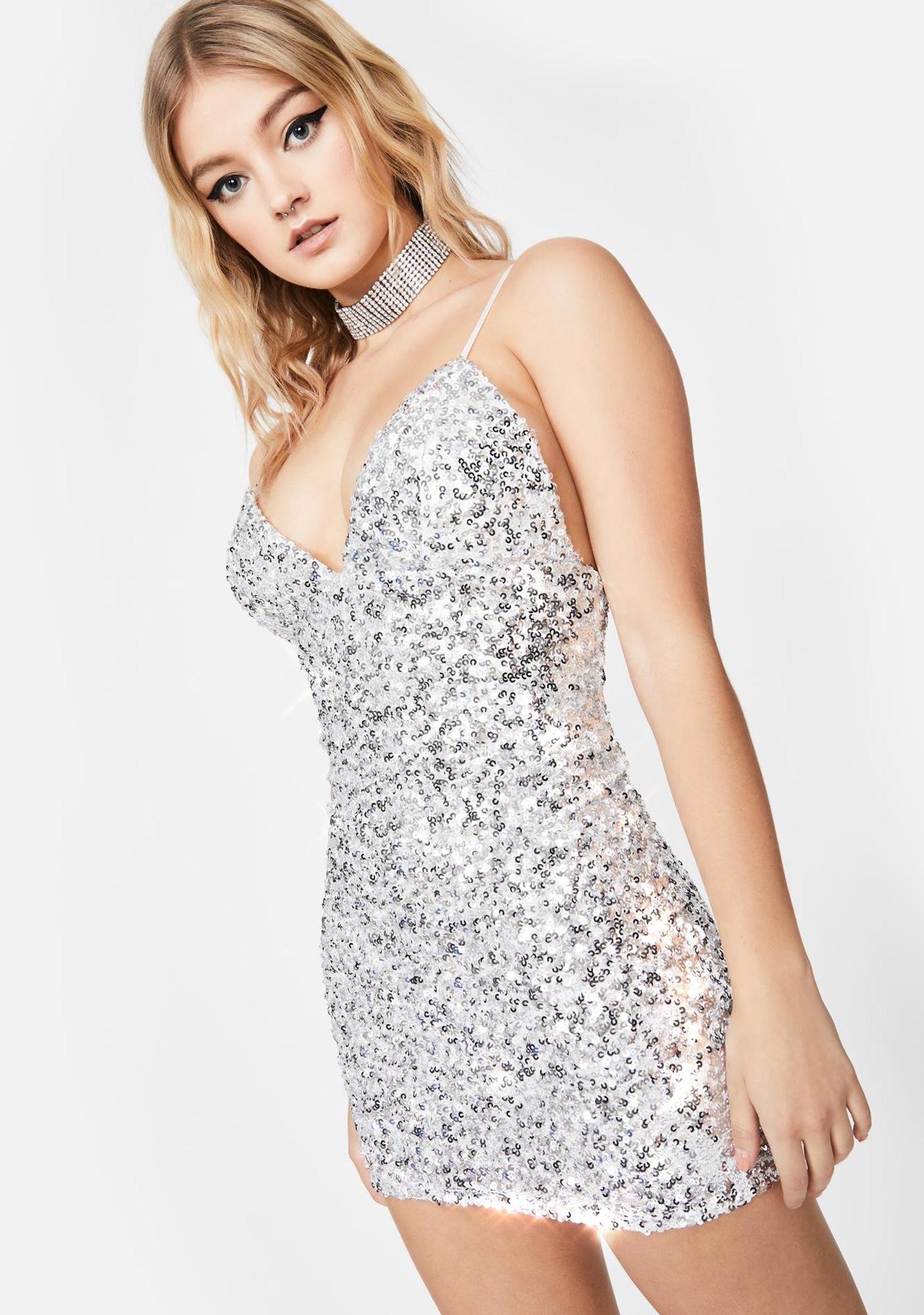 Chrome Glitter Galore Sequin Dress