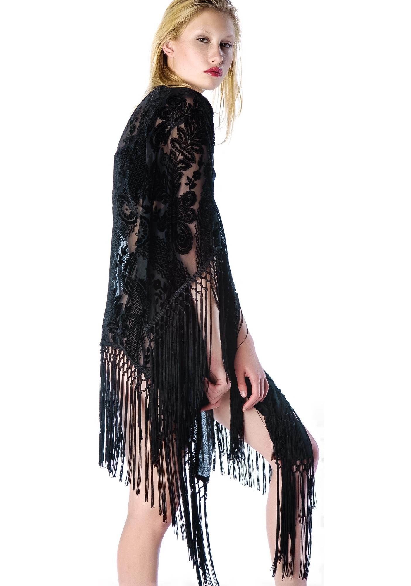 Lip Service Velvet Burnout Tassel Robe