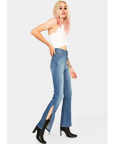 Totally Girl Side Slit Jeans
