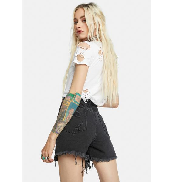 Hands On Distressed Denim Shorts