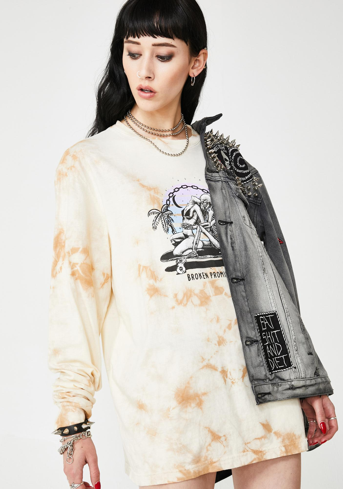 BROKEN PROMISES CO Hang Twenty Tie Dye Long Sleeve Tee
