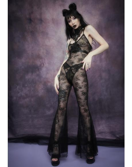 After Midnight Lace Flare Leg Catsuit