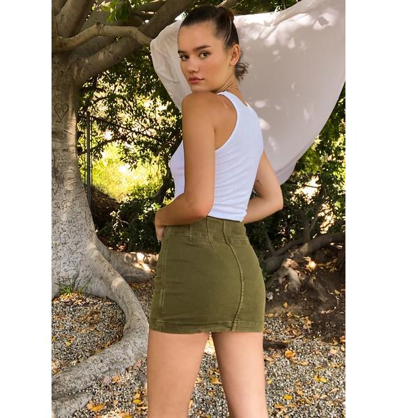Free People Cadet Green Virgo Mini Skirt
