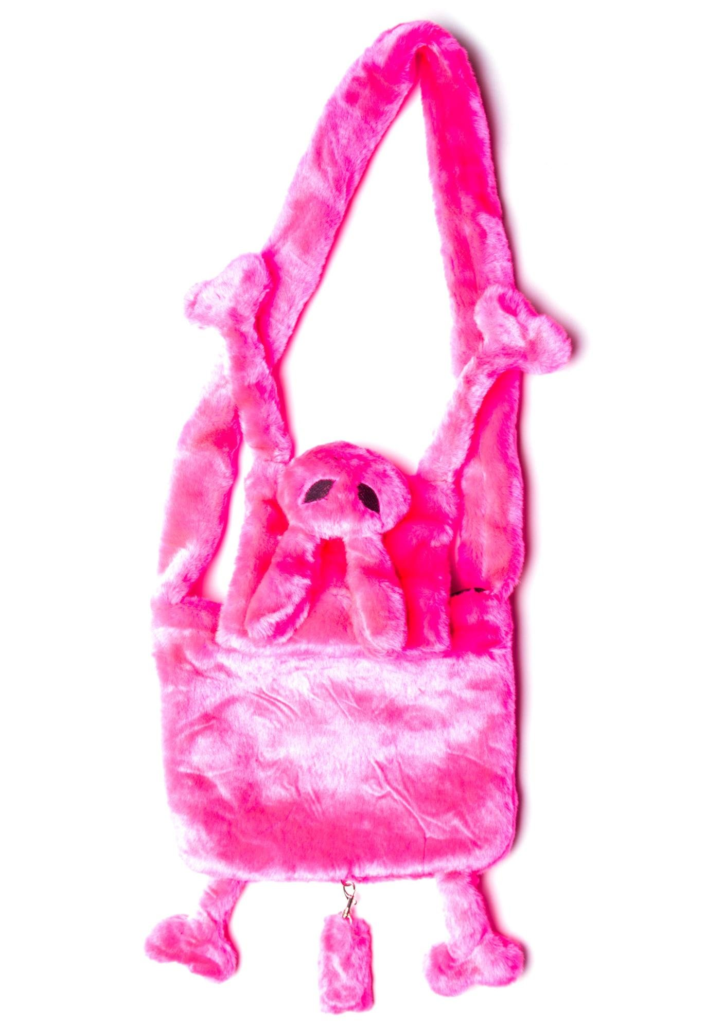 Hell Bunny Who Let the Pink Bunny Out Fur Bag