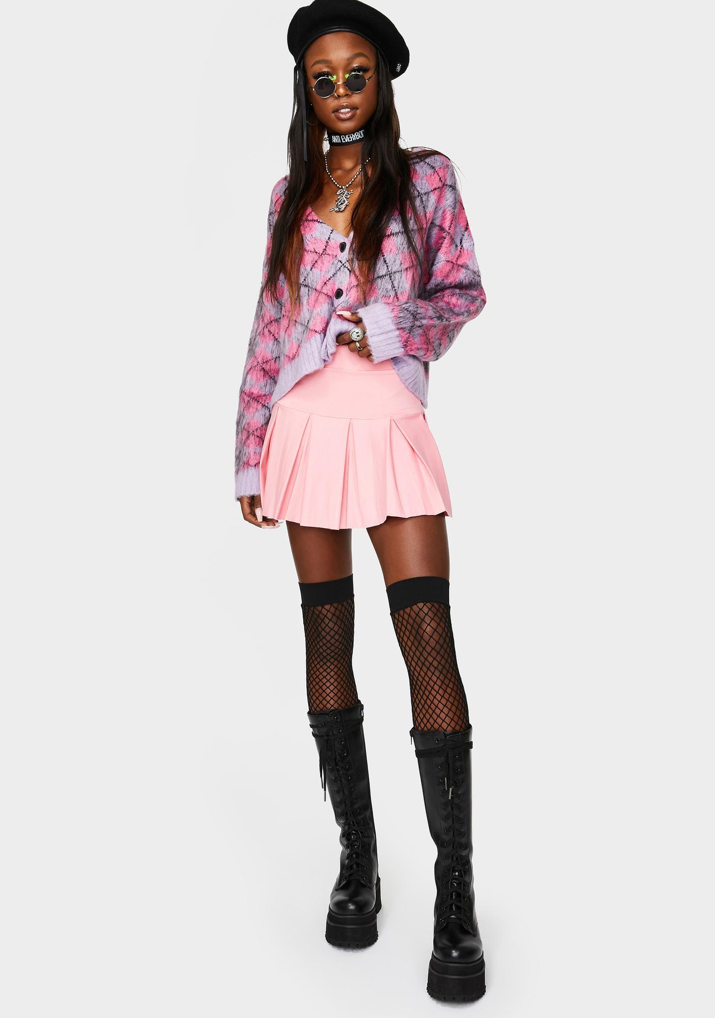 Sweet Wicked Scholar Pleated Mini Skirt