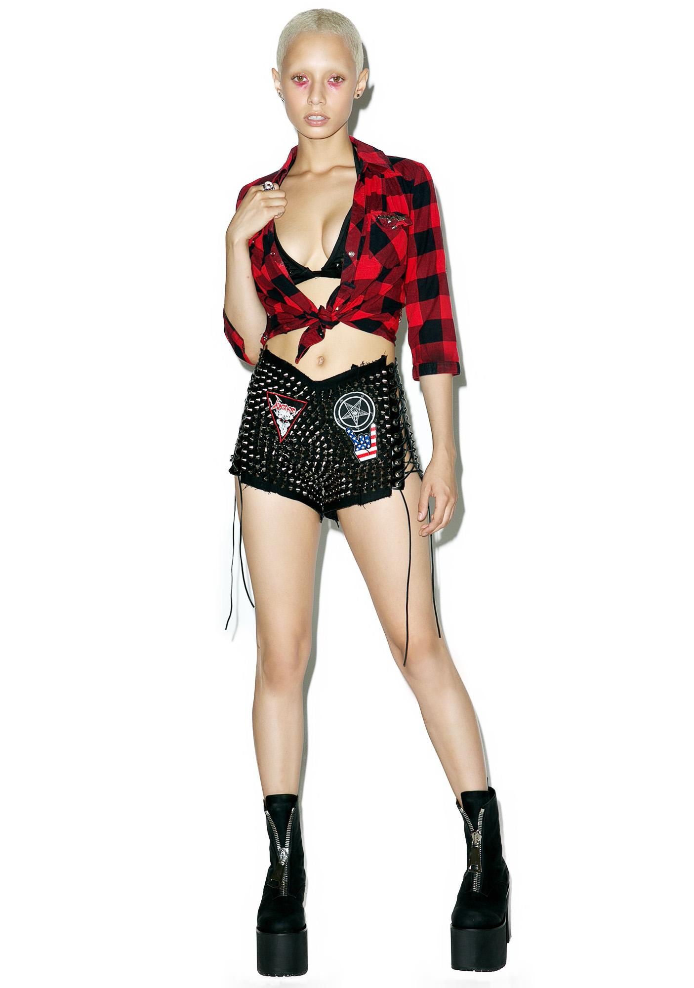 Hazmat Design Black High Waist Hell Raiser Shorts
