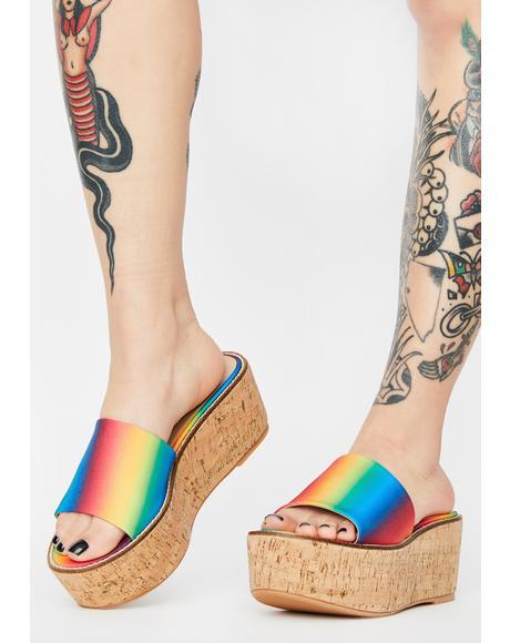 Rainbow Fiji Platform Sandals