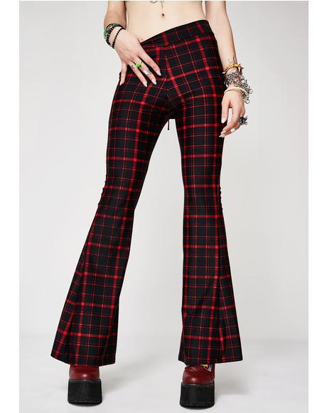 Cherry Hit Tha Books Plaid Flare Pants