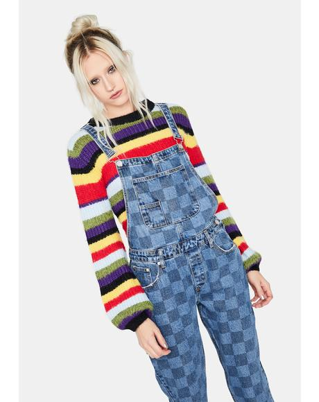 Flair Up Checkered Denim Overalls