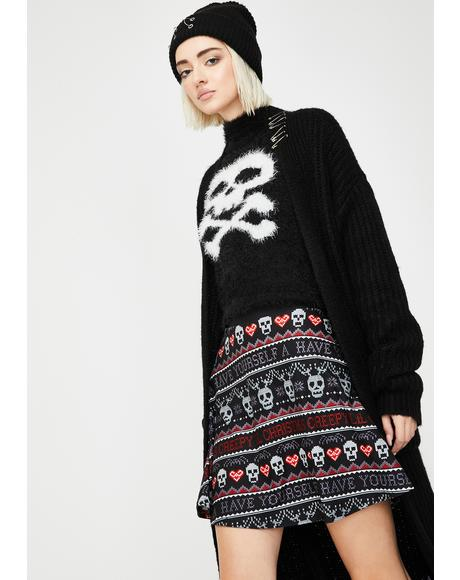 Creepy Lil Christmas Sweater Skater Skirt