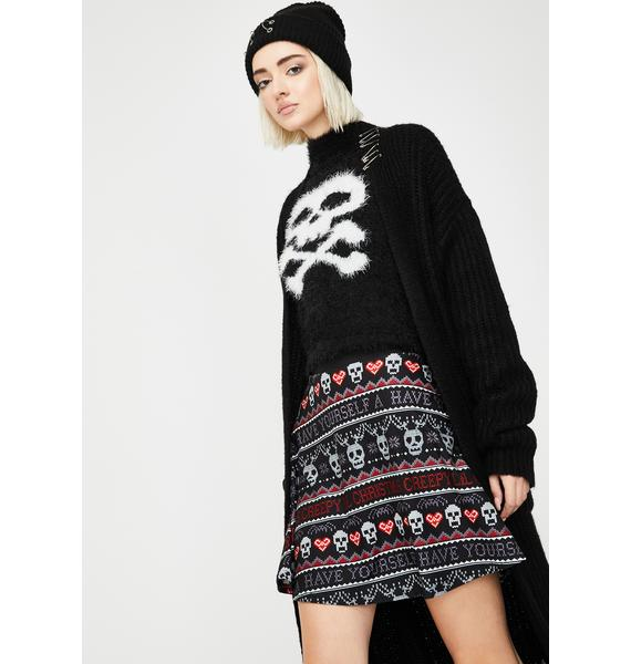 Too Fast Creepy Lil Christmas Sweater Skater Skirt