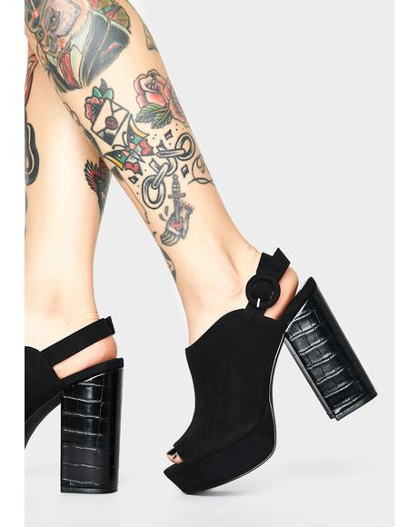Midnight Savage Strut Mule Heels