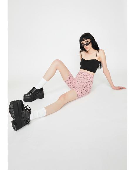 Pink Floral Biker Shorts