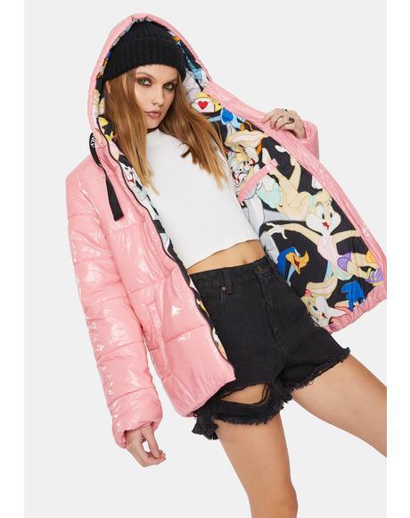 X Looney Tunes Mashup Pink Hi Shine Puffer Jacket