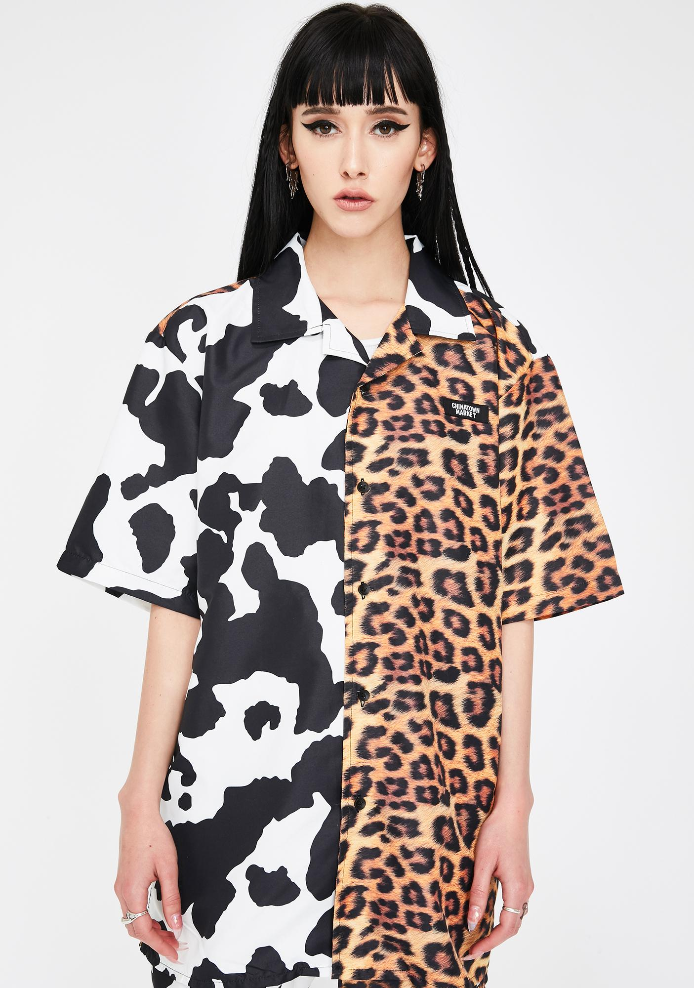 CHINATOWN MARKET All Over Animal Print Button Up Shirt