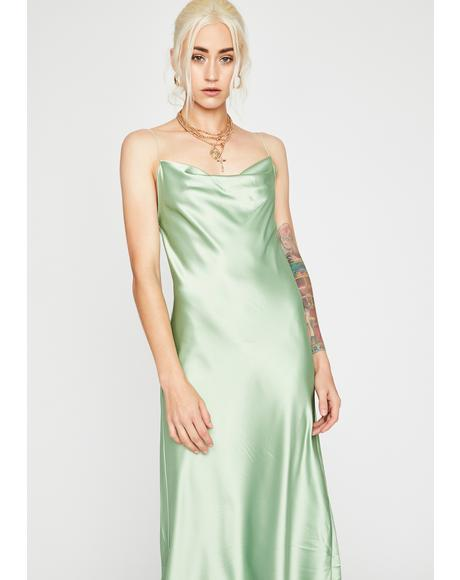 Sage Angel Above Satin Dress