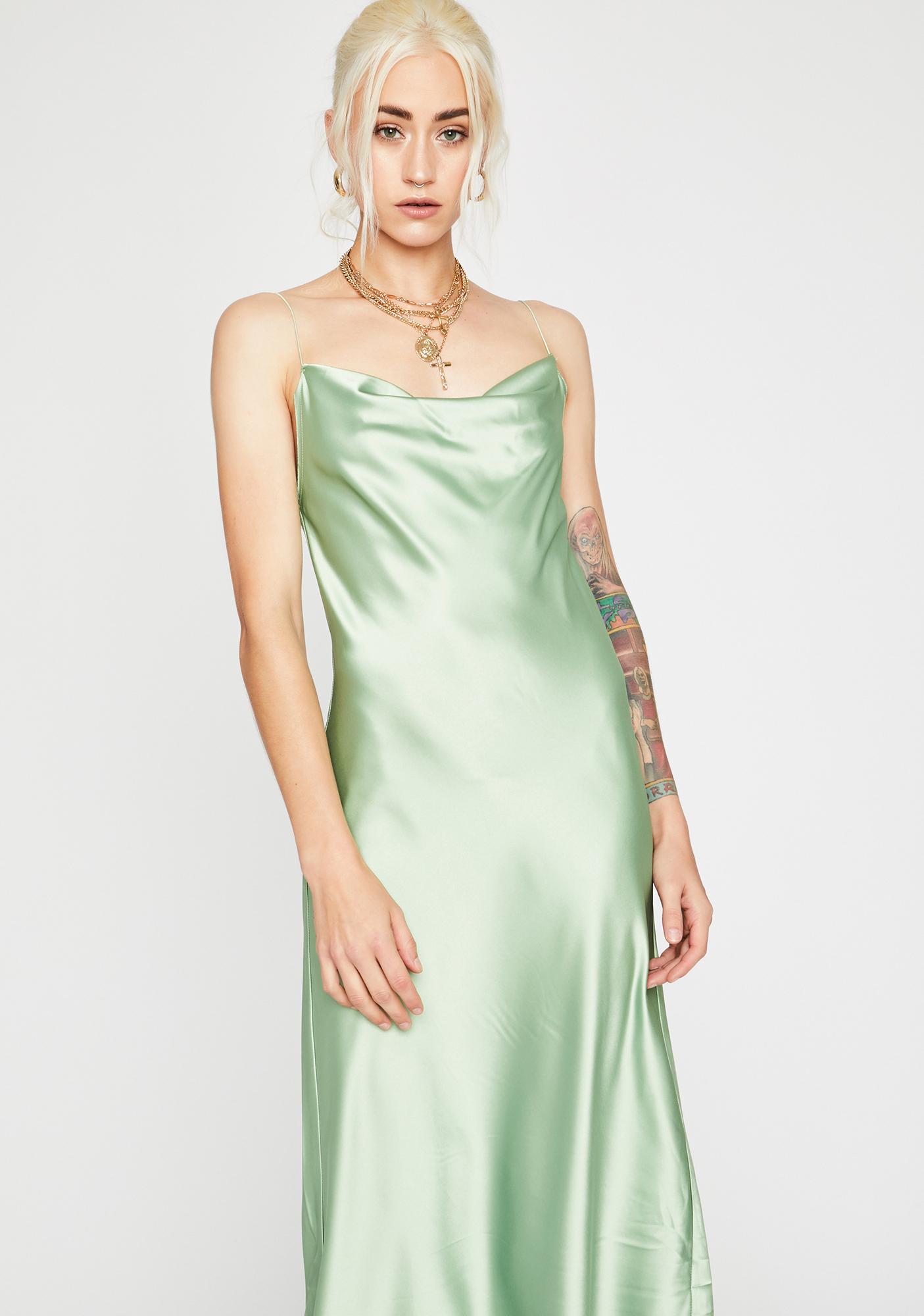 Sage Angel Above Satin Dress