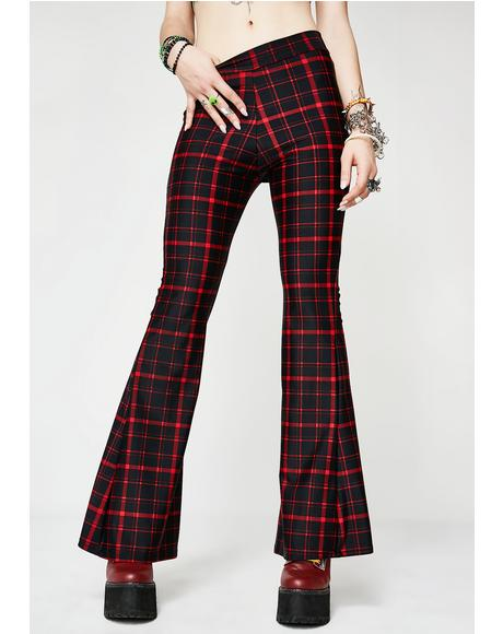 Cherry Hit Tha Books Plaid Flare Pants