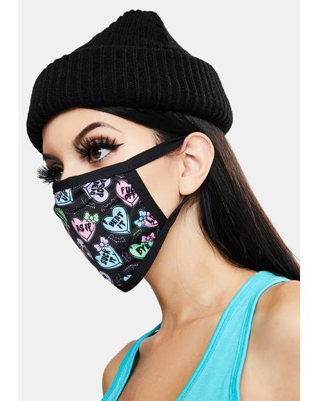 Creepy Candy Hearts Face Mask