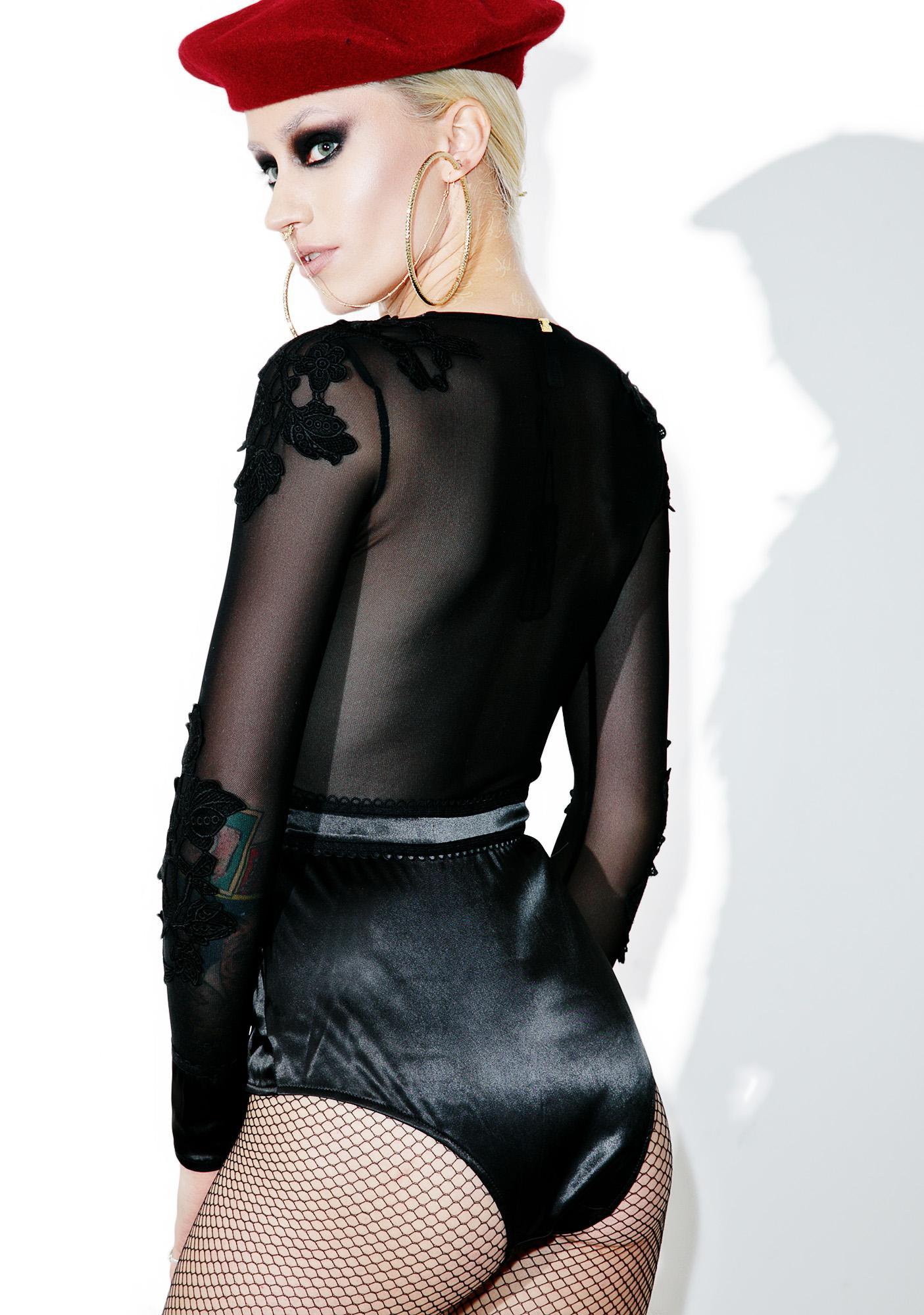 For Love & Lemons Soliana Applique Bodysuit
