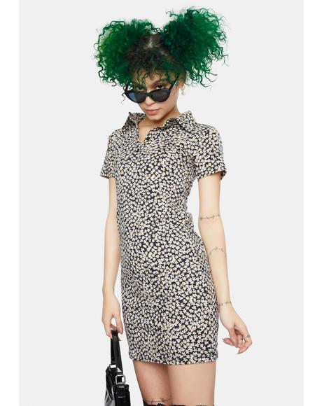Spring Fling Floral Black Jeeves Shirt Dress