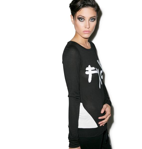 Lauren Moshi Bea Fxck Long Sleeve Top