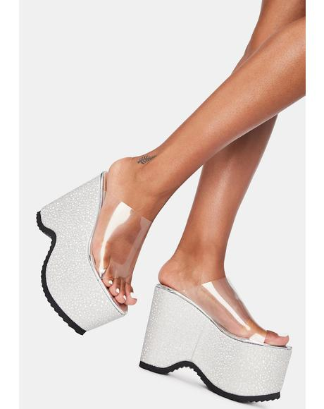 Silver Leanne Platform Sandals