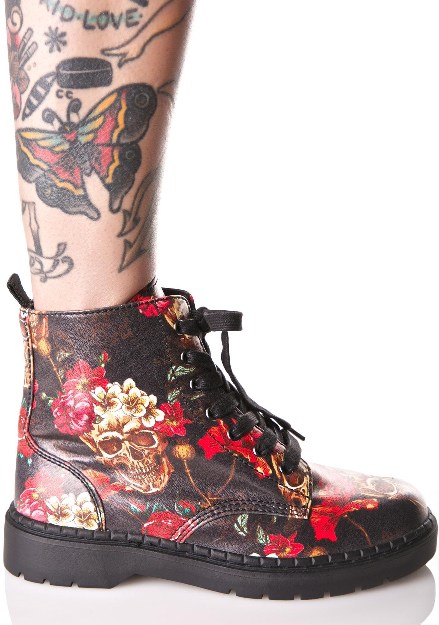 T.U.K. Skull & Roses Ealing Boots