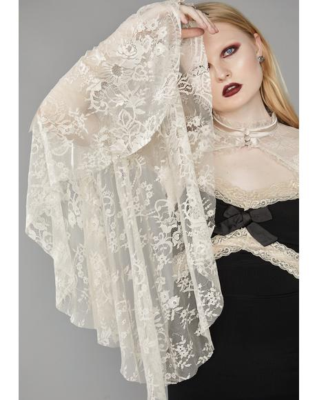 Ivory Dusk Before Dawn Lace Shrug