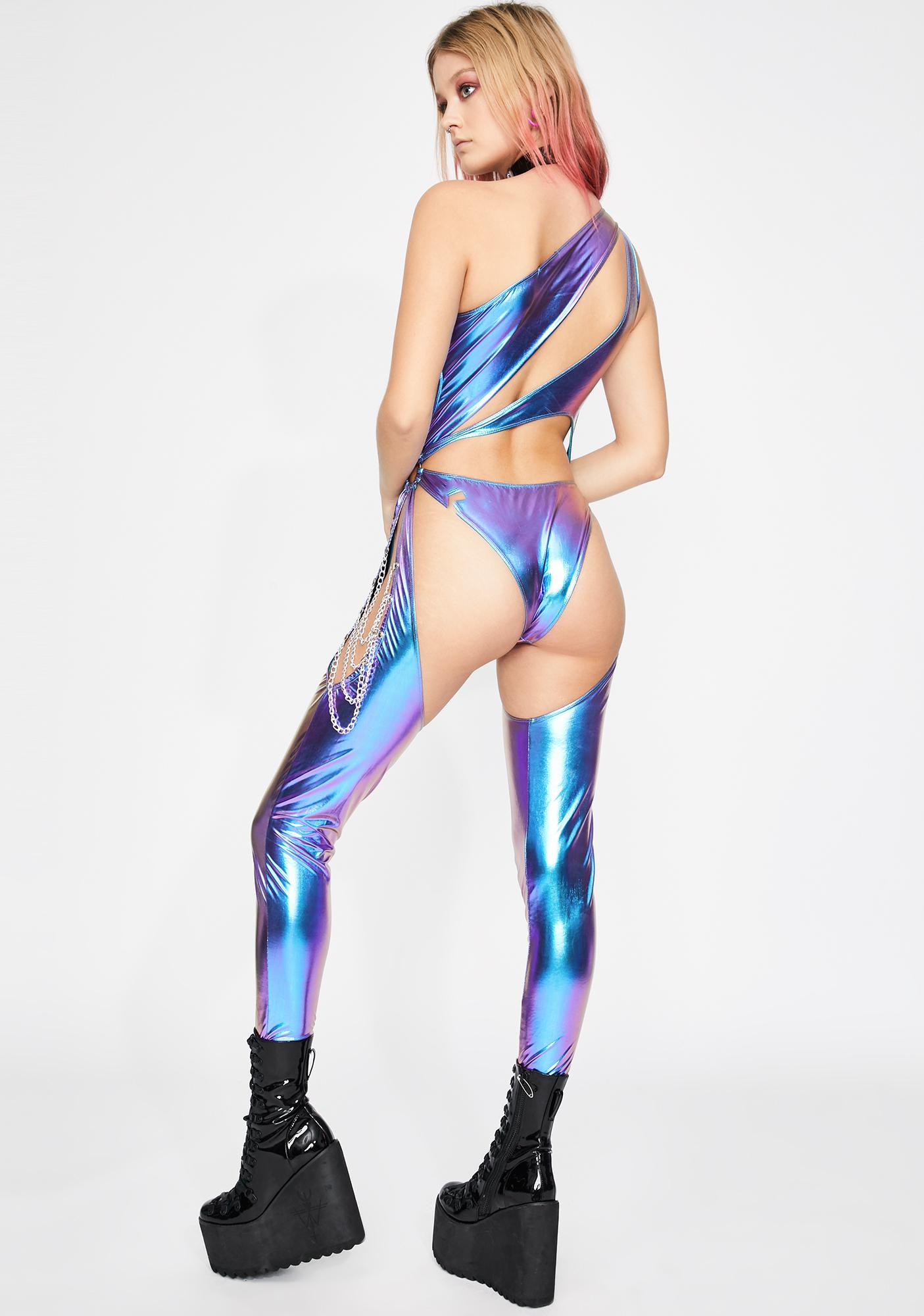 Club Exx Indigo Prism Moonwalk Cut-Out Catsuit