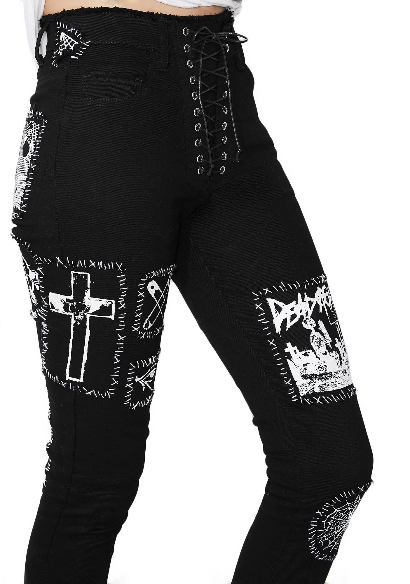 Current Mood Stitch Bitch Lace-Up Patch Jeans