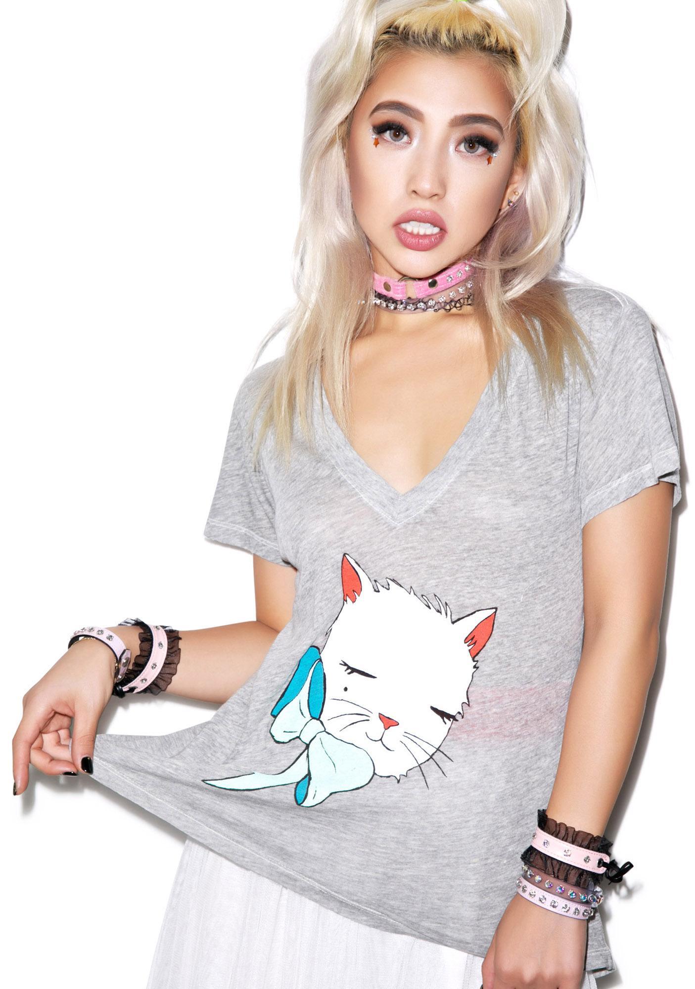 Wildfox Couture Mon Petit Kitten Classic V-neck Tee