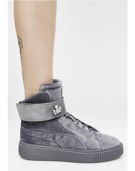 Platform Mid Velour Sneakers