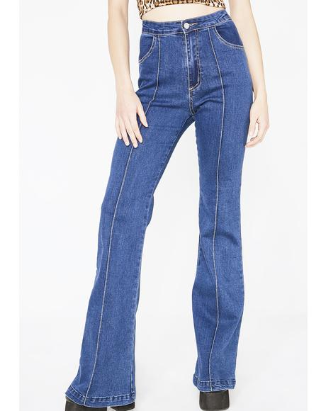 Royal Groovy Gal High-Rise Flares